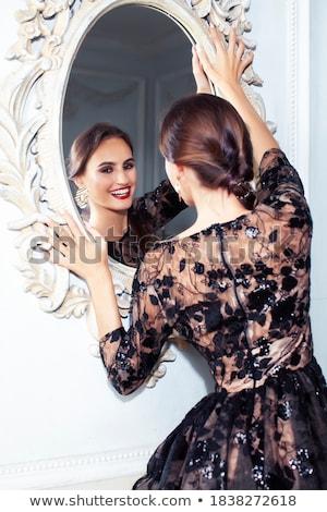 Stockfoto: Jonge · mooie · brunette · meisje · mode · jurk