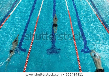 Top view of three male swimmers Stock photo © deandrobot