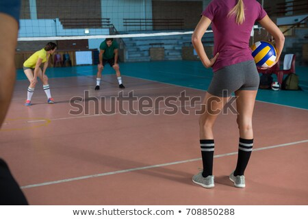 Mid section of volleyball player holding ball Stock photo © wavebreak_media