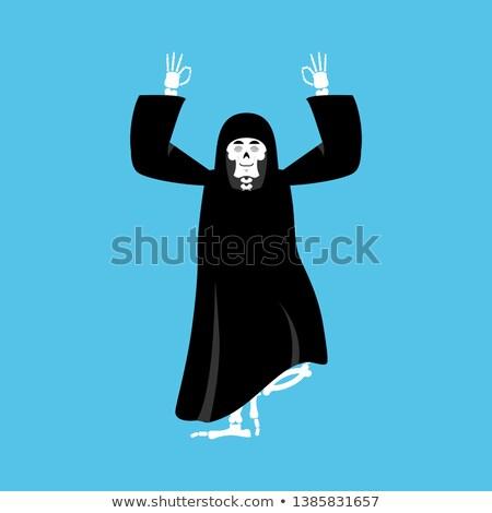 Grim reaper yoga. death yogi. skeleton in black cloak relaxation Stock photo © popaukropa