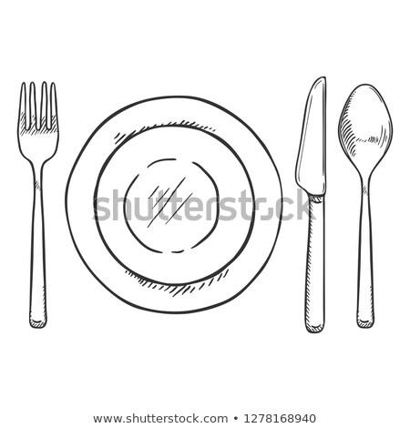 człowiek · jedzenie · widelec · nóż · żywności - zdjęcia stock © ssuaphoto