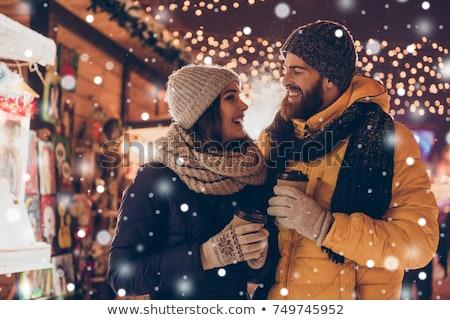 Paar drinken warme drank buitenshuis landelijk winter Stockfoto © dariazu