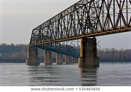 köprü · nehir · manzara · kış · seyahat · ufuk · çizgisi - stok fotoğraf © asturianu