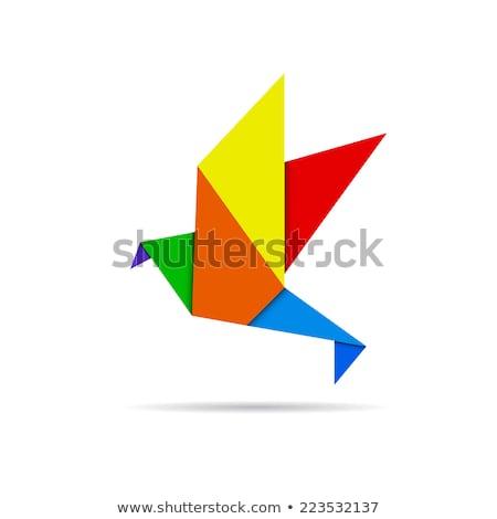 origami · uccello · vettore · icona · isolato · bianco - foto d'archivio © cienpies