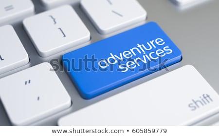 business tourism   caption on blue keyboard key 3d stock photo © tashatuvango