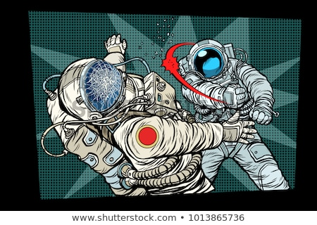 Hombre vs astronauta lucha arte pop retro Foto stock © studiostoks