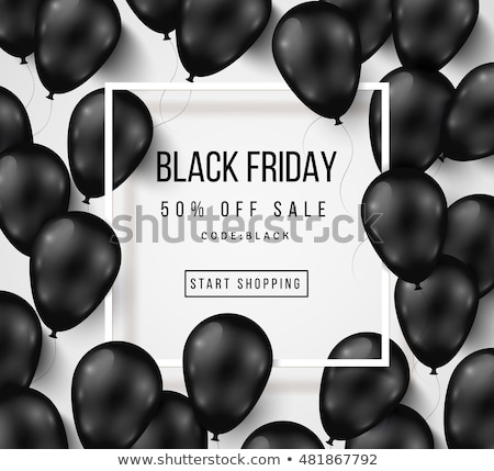 black friday sale vector illustration with shiny balloons on dark background stock photo © articular