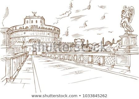 kéz · rajz · Róma · víz · épület · város - stock fotó © doomko