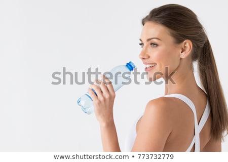 mujer · potable · botella · silueta · vino · verde - foto stock © CsDeli