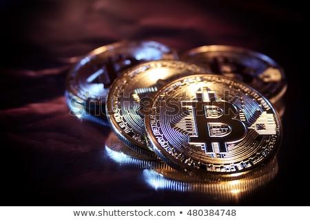 Bitcoin valuta közelkép pénz terv pénzügy Stock fotó © OleksandrO