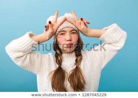 Stock fotó: Portré · fiatal · lány · visel · kalap · pulóver · tart