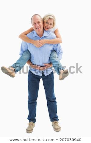 Senior man vrouw Maakt een reservekopie leuk Stockfoto © IS2