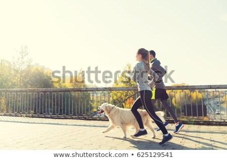 Paar jogging huisdier hond strand vrouw Stockfoto © wavebreak_media