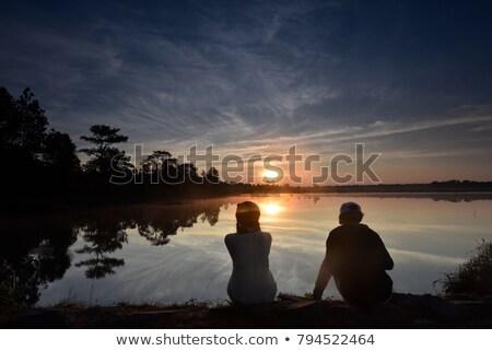 Stok fotoğraf: Erkek · kız · oturma · su · yaz · geri