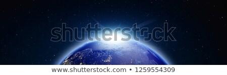 ストックフォト: 地球 · 日の出 · パノラマ · 3D · レンダリング · 星