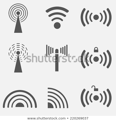 Stock photo: Wireless Network Symbol, wifi signal icon. Sound waves. Vector illustration isolated on modern backg