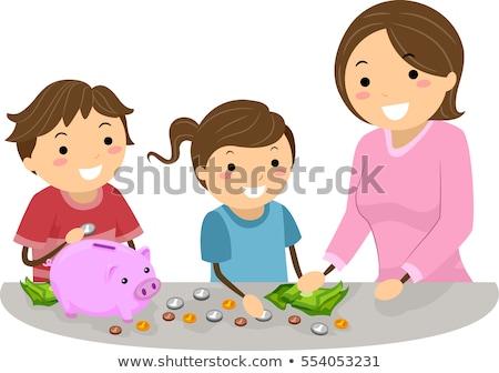 Ragazzi mamma insegnare risparmio illustrazione madre Foto d'archivio © lenm