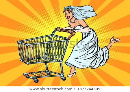 jonge · kaukasisch · vrouw · supermarkt · voortvarend · lege - stockfoto © studiostoks