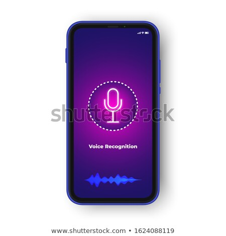 Voice assistant. Interface of a personal assistant. Microphone icon and sound waves. stock photo © AisberG