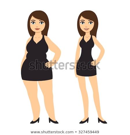 Szczęśliwy cartoon kobieta czarna sukienka ilustracja patrząc Zdjęcia stock © cthoman