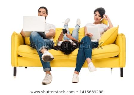 Morena posando sofá atraente branco sensual Foto stock © acidgrey