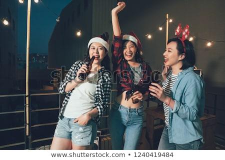 ストックフォト: サンタクロース · ダンス · 屋根 · 実例 · ツリー · 笑顔