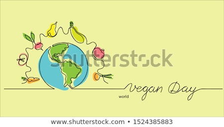 World Vegan Day card of vegetable and fruit icons Stock photo © cienpies
