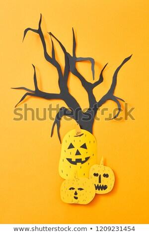 Miedo calabazas árbol papel naranja espacio de la copia Foto stock © artjazz