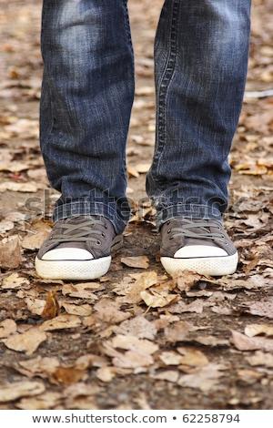 Blauw · vrouwelijke · mannelijke · jeans · denim · Geel - stockfoto © illia