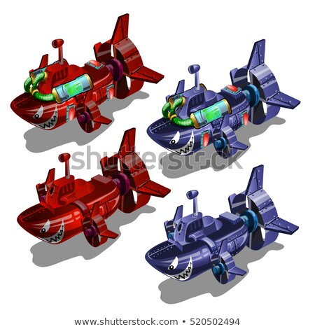 Set of submarines in the style of multi-colored toothy fish isolated on white background. Vector ill Stock photo © Lady-Luck