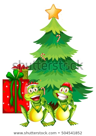 Christmas theme with two frogs and christmas tree Stock photo © colematt