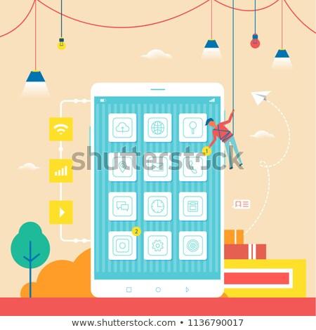 Fejlesztő férfi kötél telefon zárt nagy Stock fotó © robuart