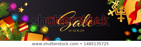 Christmas Sale Design with Lights Bulb Garland and Lettering on Blue Background. Holiday Vector Illu Stock photo © articular