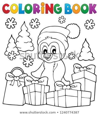 塗り絵の本 クリスマス ペンギン トピック ツリー 塗料 ストックフォト © clairev