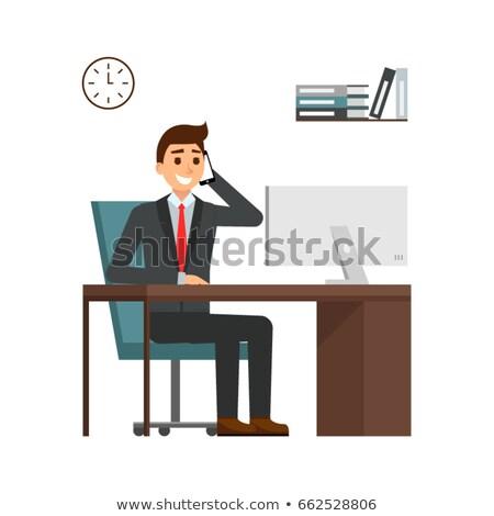 flat type gray suit businessmandesk work stock photo © toyotoyo