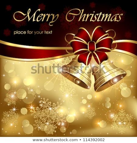Noël or glitter cloche ornement carte de vœux Photo stock © cienpies