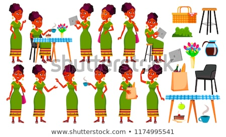 Indian Teen Girl Vector. Teenager. Friendly, Cheer. Hindu. Asian. Face Emotions, Various Gestures. A Stock photo © pikepicture