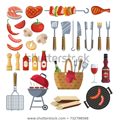 BBQ Set, Barbecue Equipment and Meat, Vector Icon Stock photo © robuart