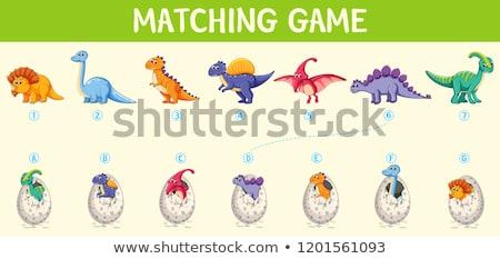 Dopasowywanie dinozaur numer streszczenie tle sztuki Zdjęcia stock © colematt