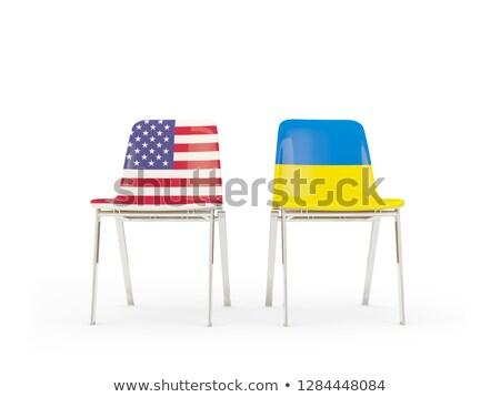 Iki sandalye bayraklar Ukrayna yalıtılmış beyaz Stok fotoğraf © MikhailMishchenko