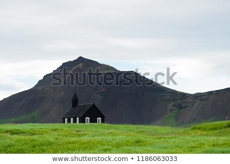 Siyah kilise köy İzlanda yaz manzara Stok fotoğraf © Kotenko