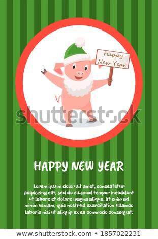 Vidám üdvözlet rajz disznó zöld kalap Stock fotó © robuart