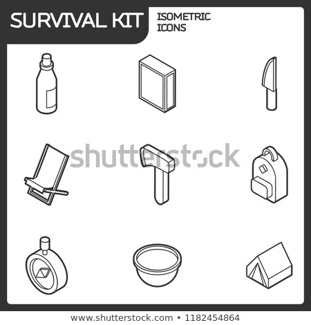 Survival kit outline isometric icons Stock photo © netkov1