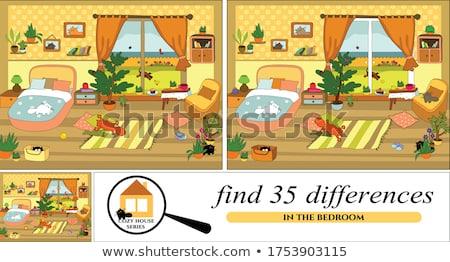 Talál különbségek játék rajzolt állatok rajz illusztráció Stock fotó © izakowski