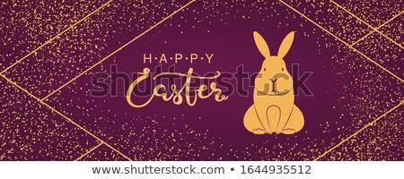 Kellemes húsvétot arany art deco kártya nyuszi fülek Stock fotó © cienpies