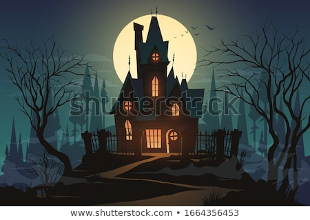 Halloween night with bats and haunted house Stock photo © colematt