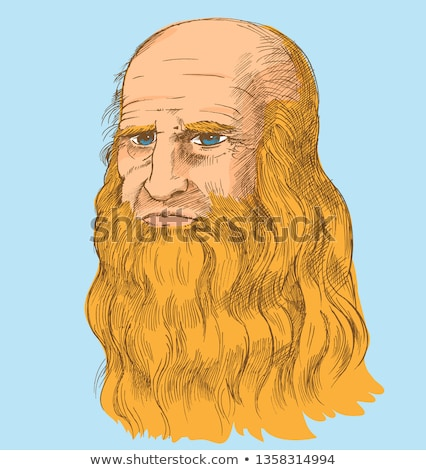 Leonardo da Vinci Self-Portrait,  pop art syle. vector illustrat Stock photo © doomko