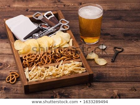 Szkła piwo jasne pełne piwa ziemniaczanej przekąska vintage Zdjęcia stock © DenisMArt