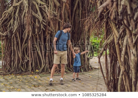 Dad and son in a rainy forest against the background of the roots of a tree Stock photo © galitskaya