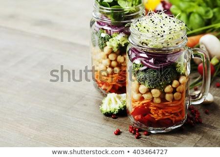 plat · rhubarbe · orange · sanguine · alimentaire · dessert · cuillère - photo stock © illia
